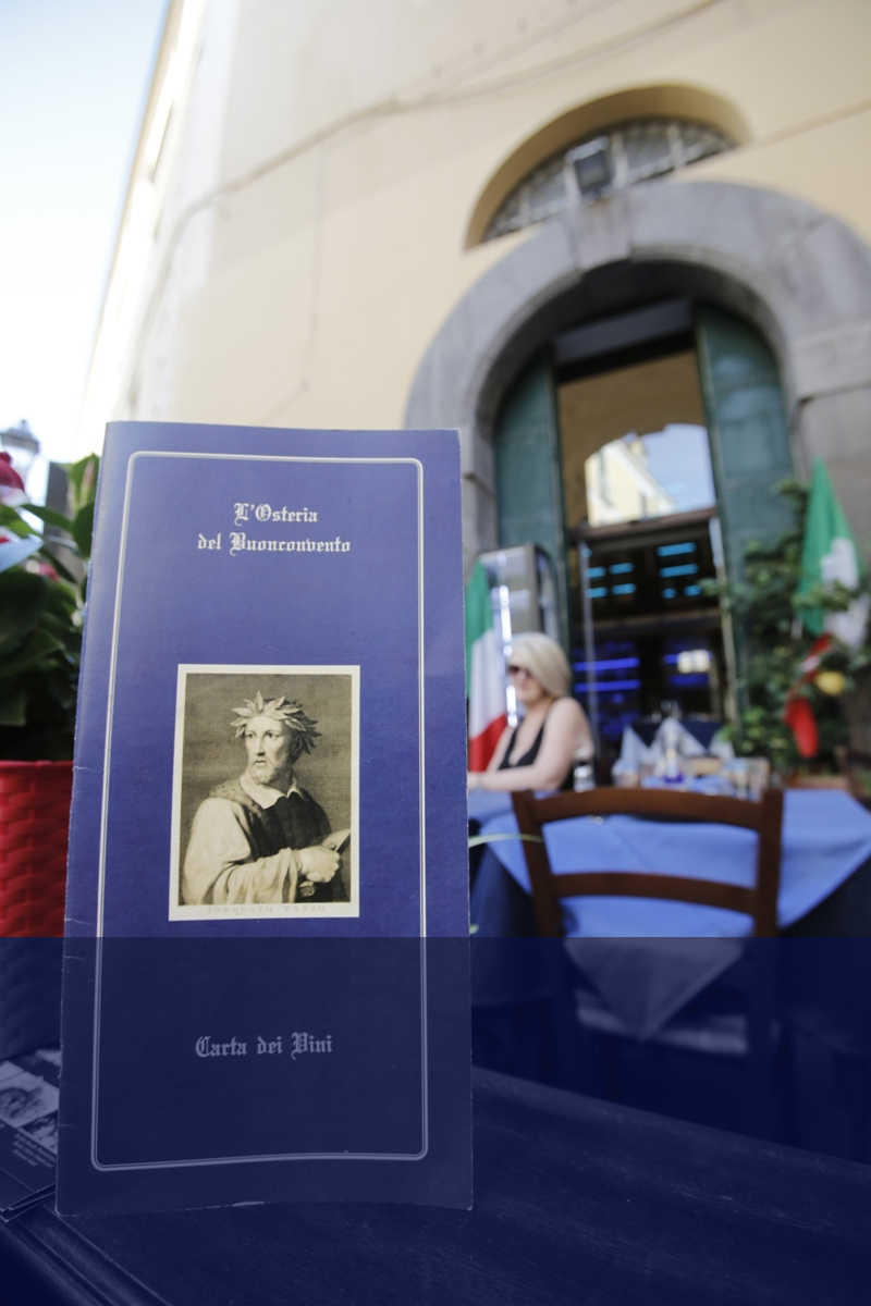 Osteria del Buonvoncento Sorrento - Ristorante - Restaurant - Pizzeria Bar Menu turistici Tourist Menu Sala Eventi Torquato Tasso Biblioteca Sorrento Tangram i.s. srl marketing napoli